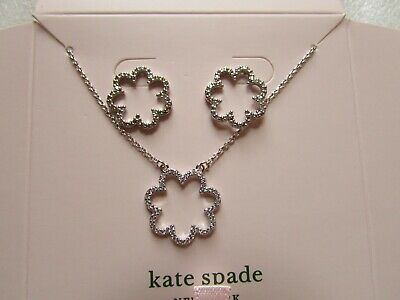 $ CDN91.16 • Buy Kate Spade New York Necklace Earrings Scrunched Scallops Circle Boxed Set Silver