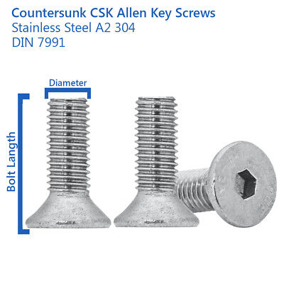 £1.29 • Buy M8 M10 M12 Countersunk Bolts Allen Key Bolts Socket Screws A2 Stainless Din 7991