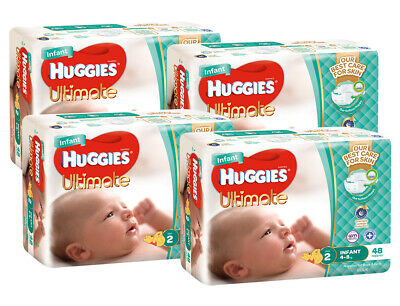 AU110 • Buy Huggies Ultimate Nappies Bulk Value Box - Size 2 Infant (192)