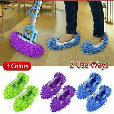 1 Pair Microfiber Duster Mop Slippers Floor Home Room Lazy Cleaner Shoes Covers~ • 1.62£