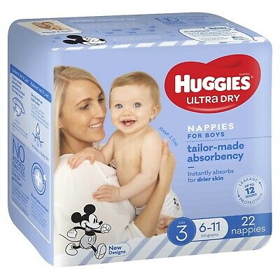 AU13.64 • Buy Huggies Ultra Dry Nappies - Size 3 Crawler Boy (22)