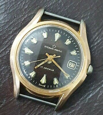 Rare Used Vintage Eterna-matic Gold Plated With Black Dial Automatic Men's Watch • 250£