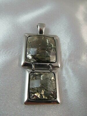 $ CDN10.03 • Buy LIA SOPHIA  FLUX  SILVER & GREY RHINESTONE DOUBLE SQUARE PENDANT SLIDE Signed