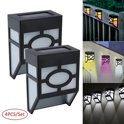 4PC LED Solar Power Garden Fence Lights Wall Light Patio Outdoor Security Lamps • 5.99£