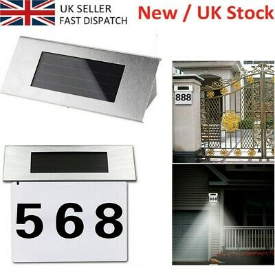 Modern Solar Powered Illuminated House Door Number Wall Light Up Plaque A-G 0-9 • 8.98£