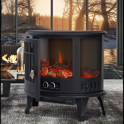 1800W Electric Fireplace Log Burning Flame Effect Stove Fire Heater Thermal Wood • 159.95£