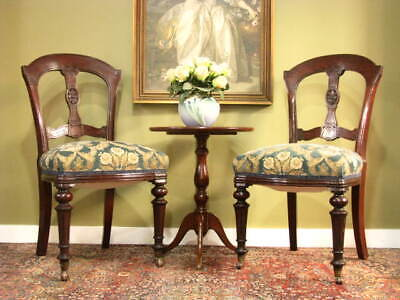 AU590 • Buy PAIR Of ANTIQUE VICTORIAN MAHOGANY + VELVET SIDE CHAIRS / DINING CHAIRS  C1880s