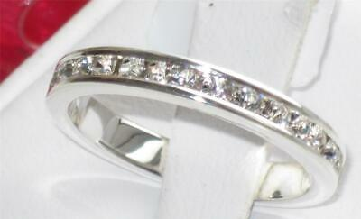 Lades Eternity Ring Sterling Silver Band Stacking Cz Cubic Zirconia 3mm Sz R 9 • 10.99£