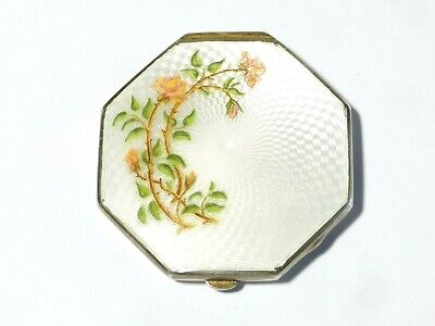 1931 Solid Silver + Guilloche Flowers Enamel VOGUE Tap Patent Powder Compact • 389£