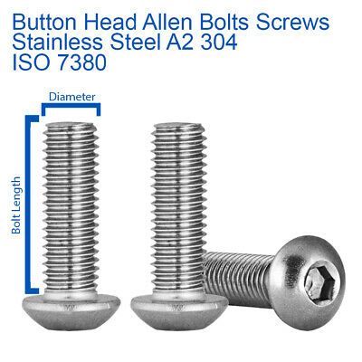 £0.99 • Buy M5 M6 M8 Button Head Allen Bolts Hex Socket Screws A2 Stainless Steel - Iso 7380