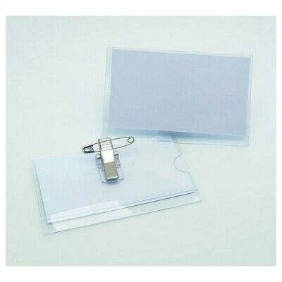 50 X Conference Or Visitor Badge Holders Name Badges Passes With Combi Clip  • 14.99£