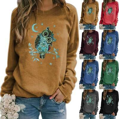 Womens Owl Printed T Shirt Jumper Pollover Long Sleeve Sweatshirt Tee Tops UK • 16.19£
