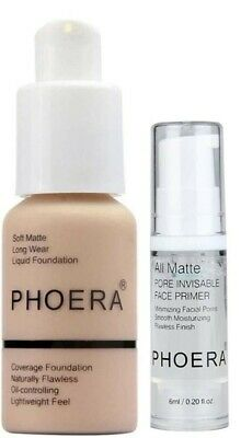 PHOERA Foundation Makeup Full Coverage Matte Primer Base Pores Lines Oil Control • 9.90£