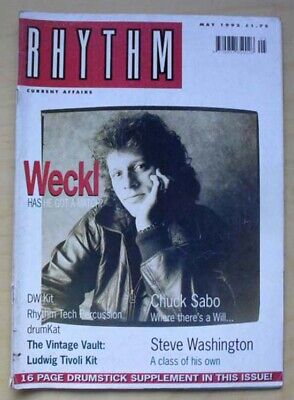 Dave Weckl Rhythm Magazine May 1992 Dave Weckl Cover With Feature Inside Uk • 8£