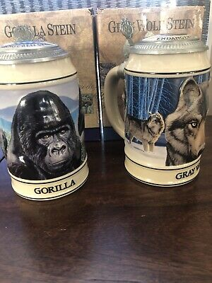 $ CDN32.94 • Buy Lot Of 2 Budweiser Stein Endangered Species Gray Wolf And