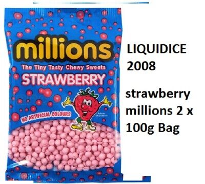£2.50 • Buy STRAWBERRY MILLIONS X 2 100 Grams BAG CHEWS SWEETS HAIAL VEGETARIAN CANDY GUMMY