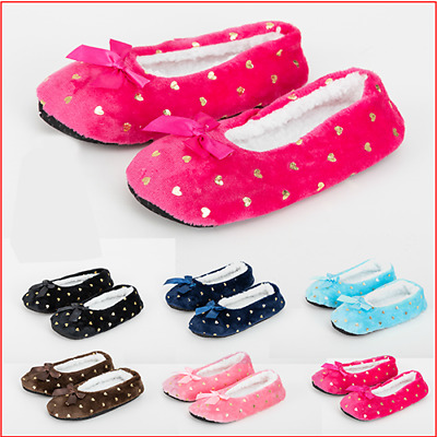 Ladies Rubber Sole Slippers Ballerina Sherpa Non Slip Fleece Lined Padded 4-7  • 5.99£