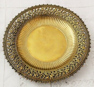 Antique Vintage Pierced Brass Dish Plate Tray With Pretty Pierced Floral Edge • 19.95£