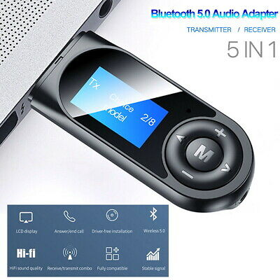 5 In1 Bluetooth 5.0 Audio Transmitter Receiver LCD USB Adapter For TV PC Car AUX • 7.09£