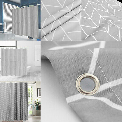 £9.45 • Buy Modern Waterproof Fabric Bathroom Shower Curtain With Hooks Ring Extra Long Wide