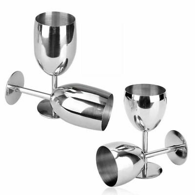 Stainless Steel Wine Glass Unbreakable Shatterproof Champagne Goblet Wine Cup • 8.49£