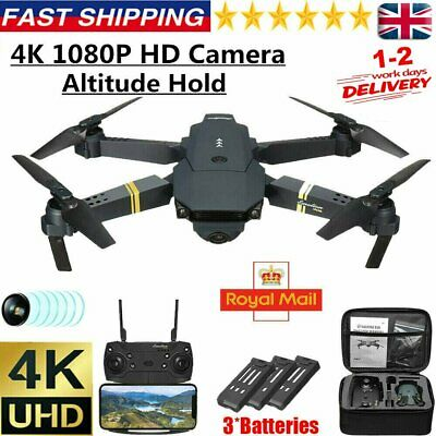 Drone X Pro WIFI FPV 4K HD Camera 3 Batteries Foldable Selfie RC Quadcopter • 30.32£