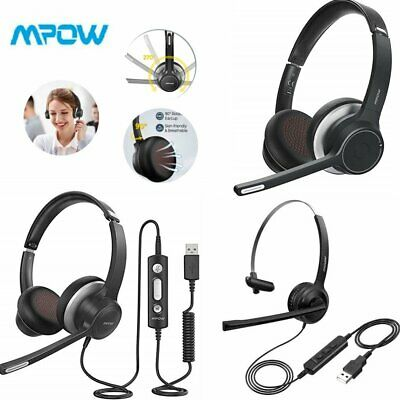 Mpow USB/Bluetooth Computer Headset Headphones Mic For PC Laptop Call Center • 17.99£