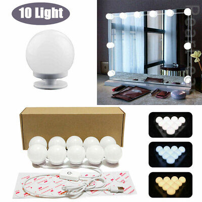 Hollywood LED Vanity Mirror Lights Kit 10 Dimmable Bulbs For Makeup Dressing PE • 9.73£