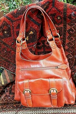 M&S Autograph Rich Tan Colour Leather Hobo Shoulder Bag Lots Of Sections • 20£