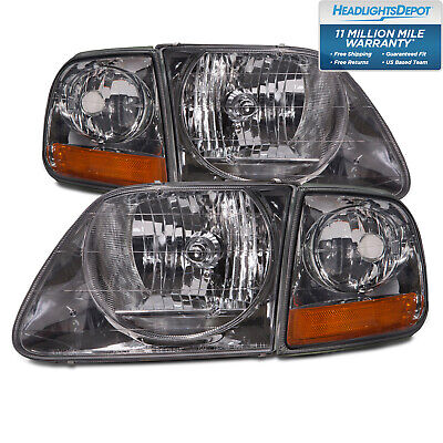 $80.45 • Buy Fits 97-03 After 7/96 Ford F150 Chrome Lite Smoke Lens 4Pc Lightning Headlights