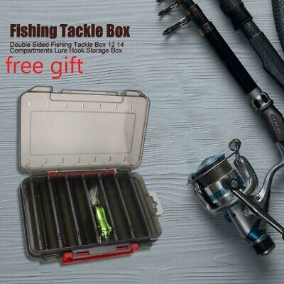 Double Sided Fishing Lure Bait Tackle Storage Box Plastic Box12/14 Compartment • 6.40£