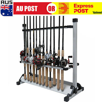 AU50.99 • Buy Fishing Rod Rack Holder Stand 24 Slots Alloy Metallic Silver With Black  L