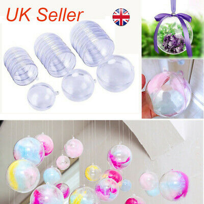 DIY Clear Plastic Craft Ball Acrylic Transparent Sphere Bauble Christmas Gift • 4.93£