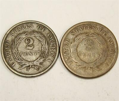 $ CDN50 • Buy 1865 And 1866 USA Two Cent Pieces Coins AG/G