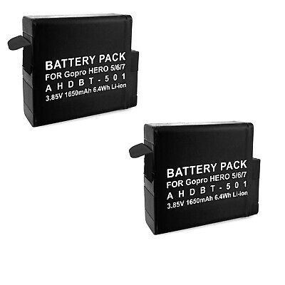 $ CDN21.56 • Buy 2 Replacement Batteries AHDBT 501 For GoPro Hero 5, 6, 7 Silver & Black Edition