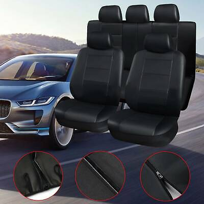 AU50.99 • Buy Car Seat Covers Leather Full Set Waterproof Universal Black Grey SUV Rear Split