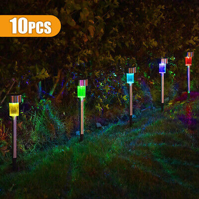 £8.59 • Buy 10Pcs Solar Powered Stainless Steel Led Post Stake Lights Garden Patio Outdoor