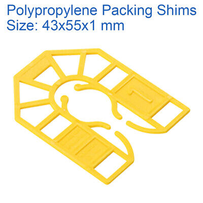 1mm YELLOW 43mm X 55mm PLASTIC PACKERS U SHIMS PAILS POLYPROPYLENE SPACERS • 3.49£
