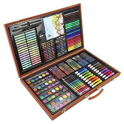 £24.95 • Buy 258pc Artists Wooden Art Case Colouring Pencils Painting Set Childrens/Adults