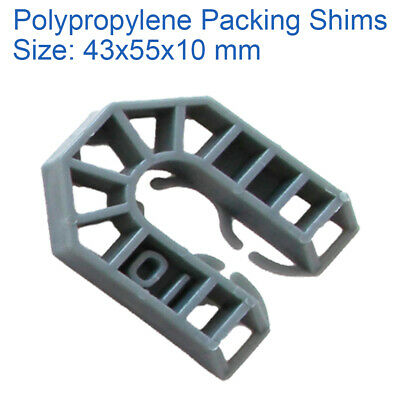 10mm GREY 43mm X 55mm PLASTIC PACKERS U SHIMS PAILS POLYPROPYLENE SPACERS • 0.99£