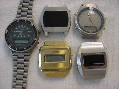 $ CDN34.85 • Buy Lot Of 5 Vintage Antique Space Age BULOVA COMPUCHRON LED LCD +mens Watch Watches