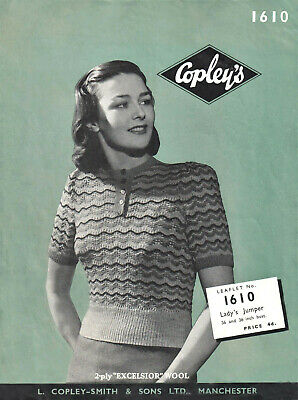 £1.99 • Buy Vintage 1940s Knitting Pattern For A Ladies Striped Short Sleeved Sweater - Copy