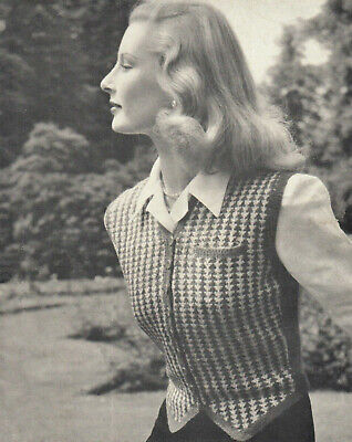 £1.99 • Buy Vintage 1940s Knitting Pattern For A Ladies Patterned Waistcoat - Copy