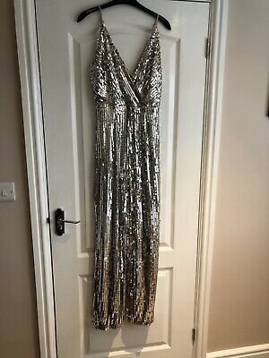 Silver/nude Sequin Jumpsuit Uk8 Vgc • 19£