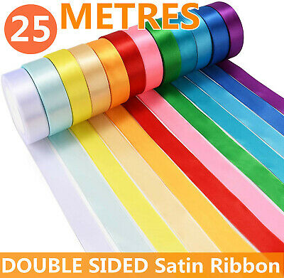 £1.89 • Buy 25 Metres, DOUBLE SIDED Satin Ribbon (Rolls). 10mm 15mm Widths Many Colours UK