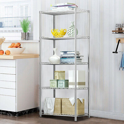 5 Tier Metal Shelving Storage Kitchen Office Shed Shelf Corner Organiser Rack UK • 36.95£