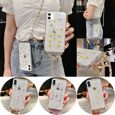 For IPhone 11 7 8 XS XR Cross Body Dried Flower Case Cover Neck Lanyard Strap • 6.45£