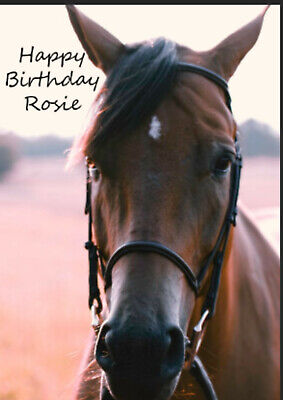 £2.80 • Buy Personalised Horse Rider Card Horses Birthday Christmas Brown Black