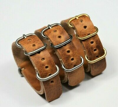 $37.99 • Buy Leather Watch Strap Horween Derby Military Style Watch Band Gift For Man For Him