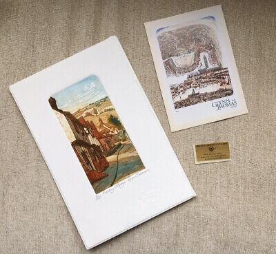Authentic Glynn Thomas Etching Kersey Cottages • 40£
